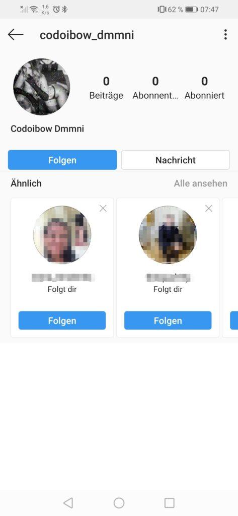 Fake-Anfragen auf Instagram 03