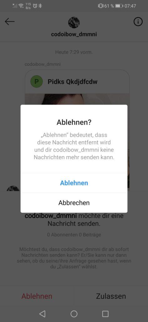 Fake-Anfragen auf Instagram 07